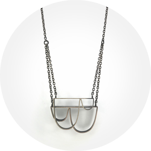 Susan Ewington - Mountain and molehill two pendant necklace in oxidised sterling silver