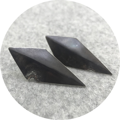 Angela Natalier - 'Disarmed' Sterling Silver Kite Shaped Large Stud Earrings, Oxidised