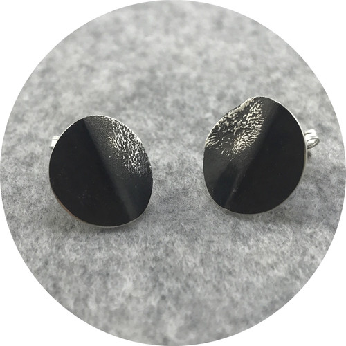 Angela Natalier - 'Disarmed' Sterling Silver Circle  Shaped Large Stud Earrings, Oxidised