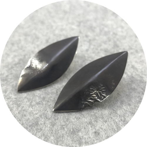 Angela Natalier - 'Disarmed' Sterling Silver Spear Shaped Large Stud Earrings, Oxidised
