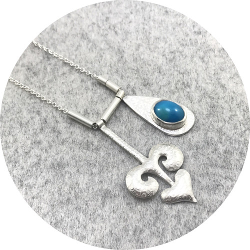Claire Taylor - Patterned Necklace with 2 Charms Pendants in Sterling Silver with a Turquoise
