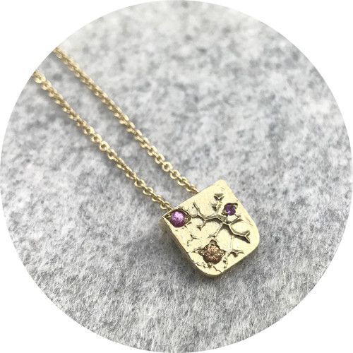 Susan McGinness - Pop Pendant in 9ct Yellow Gold with 3  Pink Madagascan Sapphires