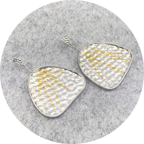 Georgie Brooks - 'Texture' Starburst Earrings  in Fine Silver, Sterling Silver and 24ct Gold Keum Boo Foil