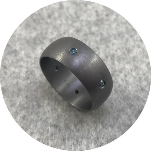 Brendan Cunningham - Tantalum Half Round 9.5mm Wide Band with 0.5ct Treated Blue Diamonds