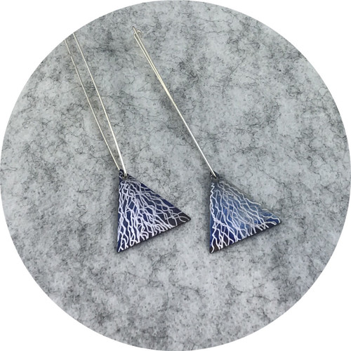 Tanja Von Behrens - Multi Wear Triangle Earrings in Heat Coloured Titanium and Sterling Silver