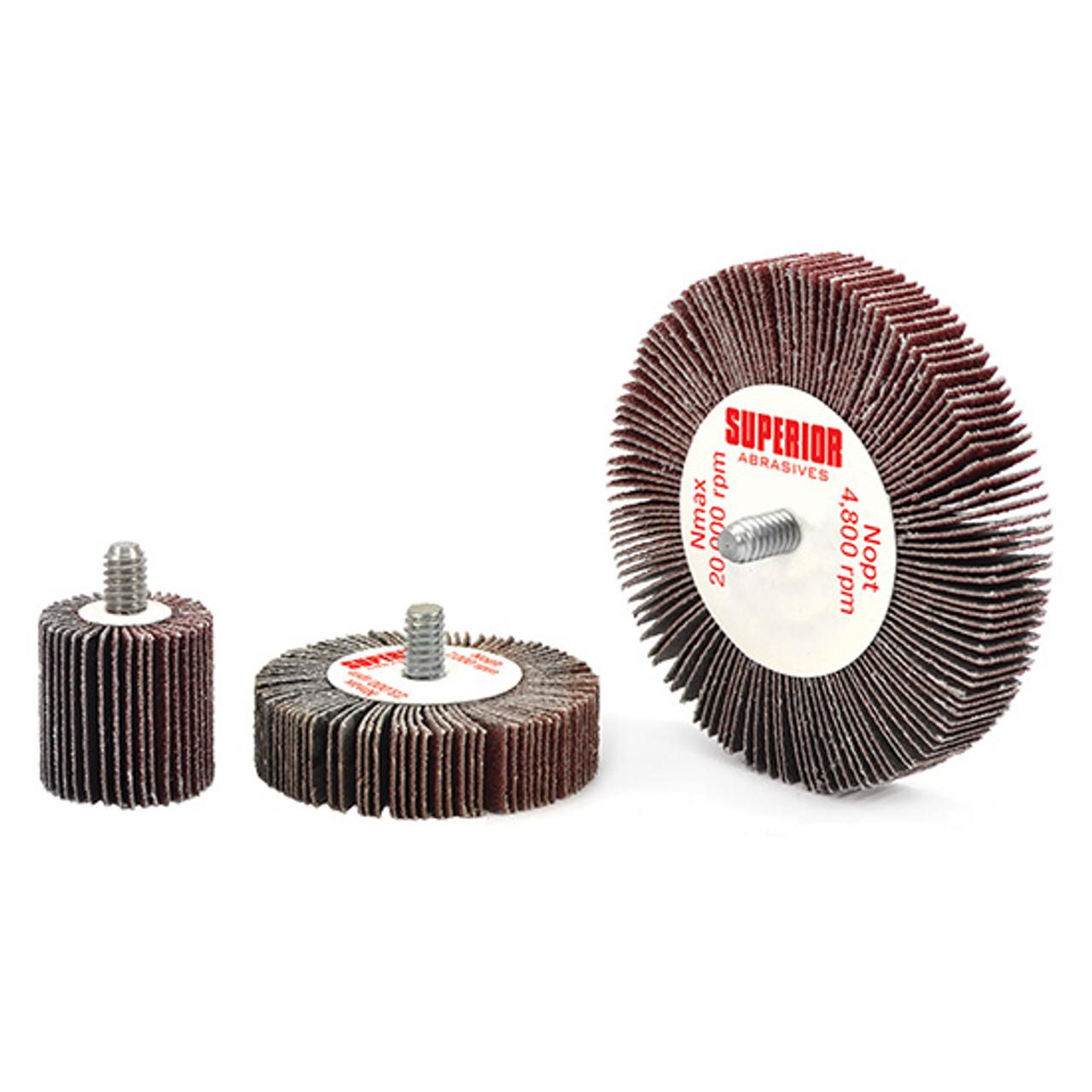 "80 Grit 1//4/"" Threaded Shank 2/"" Mounted Flap Wheel Aluminum Oxide"