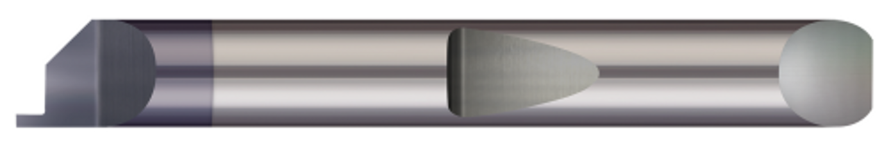12.7 mm Minimum Groove Diameter 3.18 mm 3.81 mm Groove Width 0.500 0.150 Solid Carbide Tool Shank Diameter 64 mm Micro 100 QFG-490-125X Quick Change Face Grooving Tool 0.125 12.7 mm AlTiN Coated 0.5000 2.5 Overall Length Projection