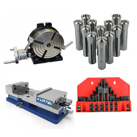 "All Industrial 45010 | Bridgeport Type Milling Machine Kit - 8"" H/V Rotary Table, Kurt DX6 Vise, 12 Pc. R8 Collet Set & 58 Pc. 5/8"" Clamping Kit"