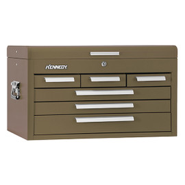 "Kennedy 266B | 26"" 6-Drawer Brown Wrinkle Mechanics' Chest with Tote Tray"