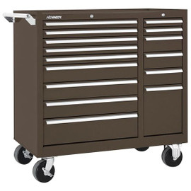 Kennedy 315XB | 15 Drawer, Steel, Tool Roller Cabinet 39-3/8 Inch Wide x 39 Inch High x 18 Inch Deep, 2,800 Lb. Capacity, Brown