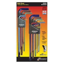 "Bondhus 6960-Degree| 13pc .050"" to 3/8"", 1.5mm to 10mm Long Ball End L-Set"