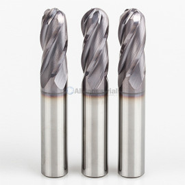"All Industrial E5250008TF | 1/8"" Diameter x 1/8"" Shank x 1/2"" LOC x 1-1/2"" OAL 4 Flute TiAlN Solid Carbide Ball End Mill"