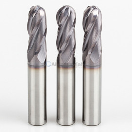 "All Industrial E5250012TF | 3/16"" Diameter x 3/16"" Shank x 5/8"" LOC x 2"" OAL 4 Flute TiAlN Solid Carbide Ball End Mill"