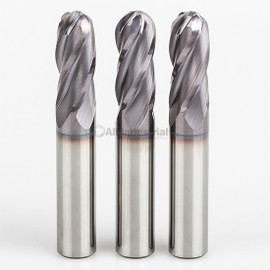 "All Industrial E5250016TF | 1/4"" Diameter x 1/4"" Shank x 3/4"" LOC x 2-1/2"" OAL 4 Flute TiAlN Solid Carbide Ball End Mill"