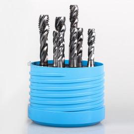 YG1 TG836SET8 | 3 Flute Spiral Combo Tap Set HSS-Ex TiCN Coated - 1/4, 5/16, 3/8, 7/16 UNC/F