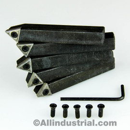 "All Industrial 19924 | 5/8"" 5pc Indexable Carbide Insert Turning Tool Bit Lathe Set C6 Chipbreaker"