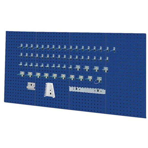 Kennedy 50004BL | 4-Panel Industrial Blue Toolboard with 60 Pc. Toolholder Set