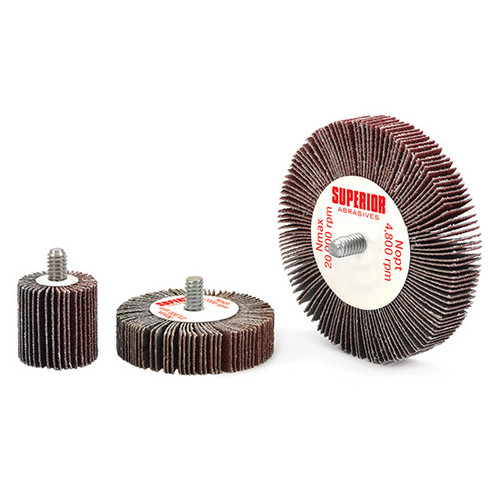 "Superior Abrasives 10205   SHUR-KUT 3"" x 1"" x 1/4""-20 120 Grit Aluminum Oxide Mounted Flap Wheel"