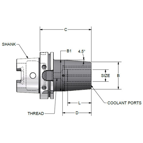 """Parlec H100A-10SHD433-9C   1"""" Hole Diameter x 4.33"""" Projection HSK100A 2.28"""" Nose Diameter 25,000 RPM Through Coolant Shrink Fit Tool Holder & Adapter"""