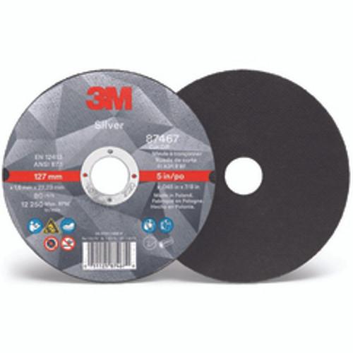 "3M 00051125874595   3"" Diameter x 3/8"" Hole x 1/16"" Thickness 25465 RPM 36+ Grit Non-Reinforced Ceramic Type 1 Cutoff Wheel"