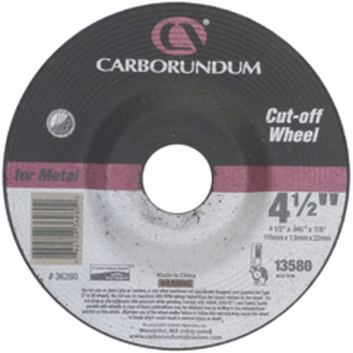 "Carborundum 05539561568 | 4-1/2"" Diameter x 5/8"" Hole Size x 1/4"" Thickness Extra Coarse 24 Grit Aluminum Oxide Type 27 Depressed Center Wheel"