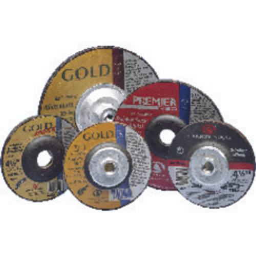 "Carborundum 05539502843 | 4-1/2"" Diameter x 5/8"" Hole Size x 1/4"" Thickness Extra Coarse 24 Grit Aluminum Oxide Type 27 Depressed Center Wheel"