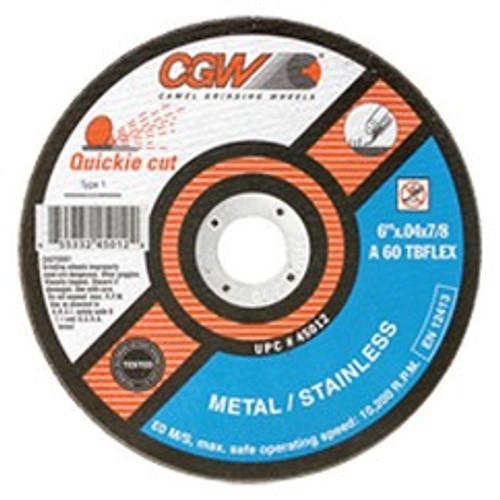"CGW 45010   4-1/2"" Diameter x 7/8"" Hole x 1/32"" Thickness 13300 RPM 60 Grit Reinforced Aluminum Oxide Type 1 Cutoff Wheel"