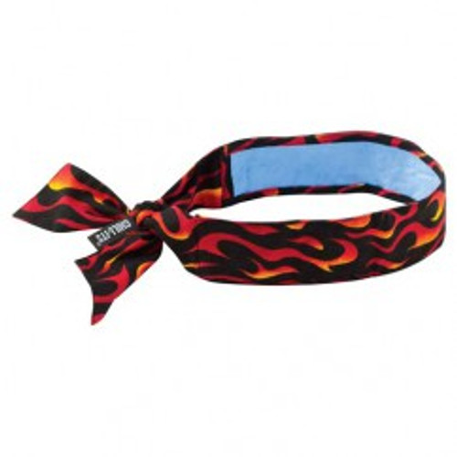 Ergodyne 12568 | Black, Orange, White, Yellow Flames Cotton, PVA Cooling Bandana