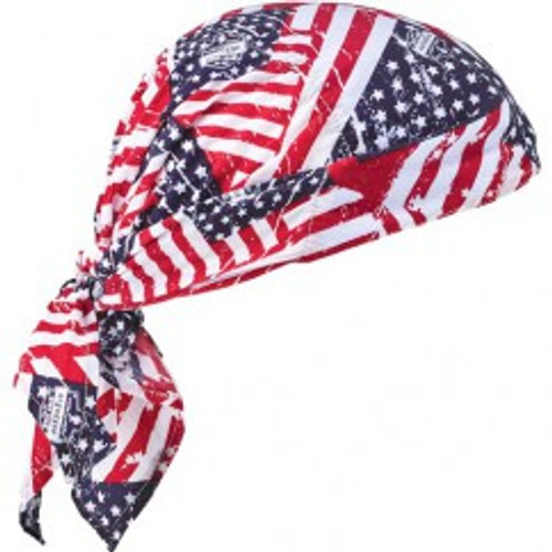 Ergodyne 12581 | Blue, Red, White Stars & Stripes Cotton, PVA Cooling Triangle Hat