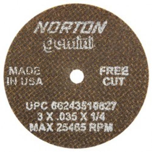 "Norton 66243510627   3"" Diameter x 1/4"" Hole x 1/32"" Thickness 25465 RPM 60 Grit Reinforced Aluminum Oxide Type 1 Cutoff Wheel"