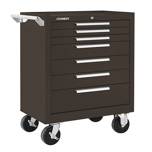 """Kennedy 297XB   29"""" 7-Drawer Roller Cabinet, 29""""W x 20""""D x 35"""" H, Brown Color, With Ball Bearing Slide Drawers"""