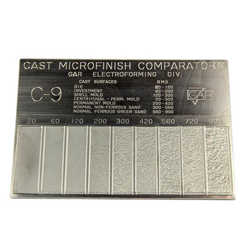 Gar C-9 | Surface Roughness Scale C-9 Cast Microfinish Surface Comparator