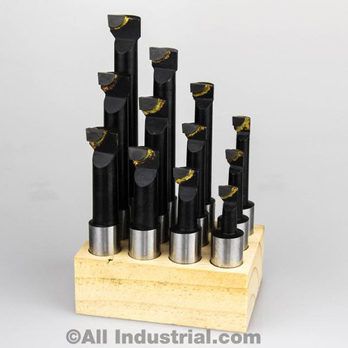 """All Industrial 11924   12pc 3/4"""" to 3-3/4"""" Boring Depth Range 5/8"""" Shank Alloy Steel Carbide Tipped Boring Bar Set"""