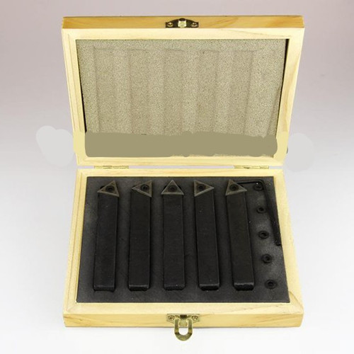 "All Industrial 19923 | 5pc 1/2"" Shank Indexable Turning Tool Holders with C6 Carbide TCMT Inserts (Chipbreaker)"