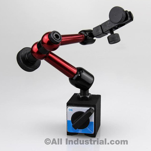 """All Industrial 52500   3D Mini Magnetic Base Holder 50 Lbs. Pull 9"""" Reach for Dial & Test Indicators"""