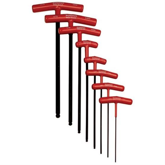 Bondhus 13187 | 8pc Balldriver Metric Cushioned Grip T-Handle Hex Tool Set