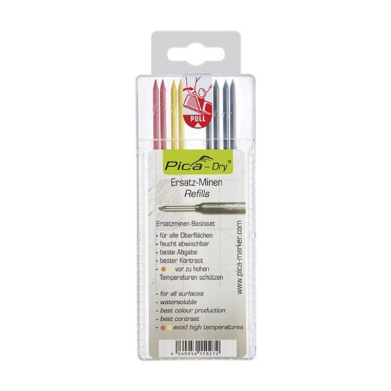 Pica 4020/SB | 2.8mm Dry Water Soluble Multi-Use Mixed Lead Refills 8/pk