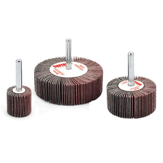 "Superior Abrasives 10117 | SHUR-KUT 1-1/2"" x 1"" x 1/4"" 180 Grit Aluminum Oxide Mounted Flap Wheel"