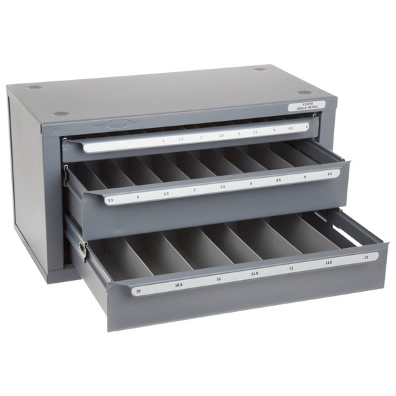 Huot 13075 | Metric Sizes 1mm-13mm X .5mm Drill Dispenser Organizer Cabinet