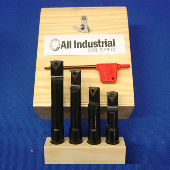 "All Industrial 19900   Premium 4pc 1/2"" Indexable Boring Bar Set Lathe Round Shank Bars"