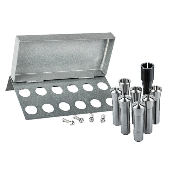 """All Industrial 41078   8pc R8 Collet Set 1/8"""" to 1"""" for Bridgeport With R8 Collet Rack - 12 Slot"""