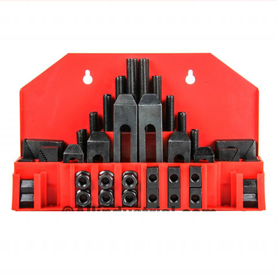 "All Industrial 48020 | 58pc Pro-Series 7/16"" T-Slot Clamping Kit Bridgeport Mill Set Up Set 3/8-16"