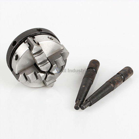 """All Industrial 47750   Self-Centering Lathe Chuck Plain Back 2"""" 4-Jaw 1/2""""-20 Hardened"""
