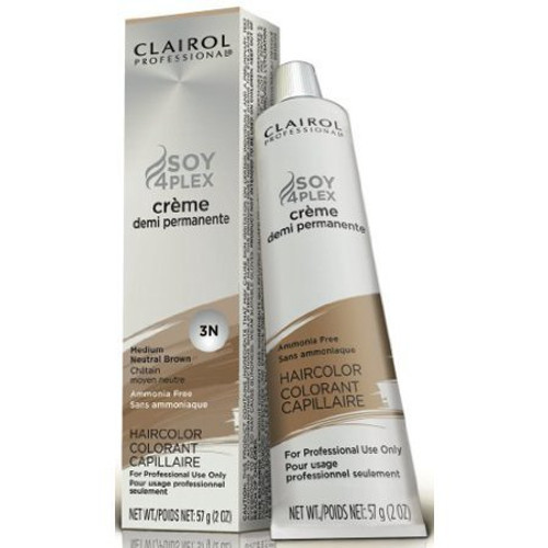 Clairol Soy4Plex Demi Permanent Tube #3N Medium Neutral Brown.