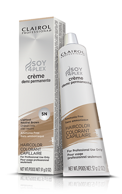 Clairol Soy4Plex Demi Permanent Tube #5N Lightest Neutral Brown.