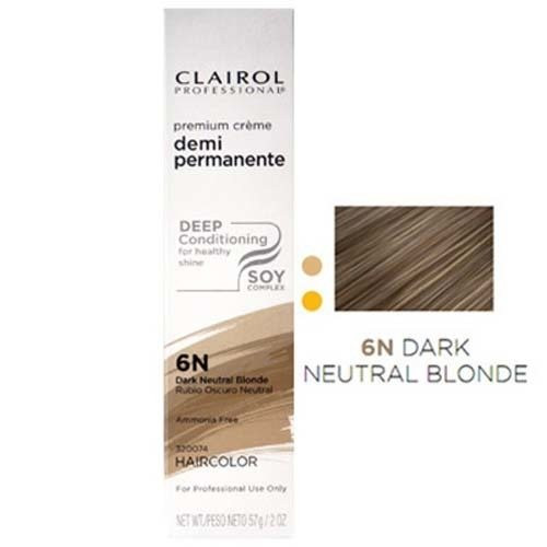 Clairol Soy4Plex Demi Permanent Tube #6N Dark Neutral Blonde.