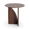 Teak Geometric Sculpted Round Side Table
