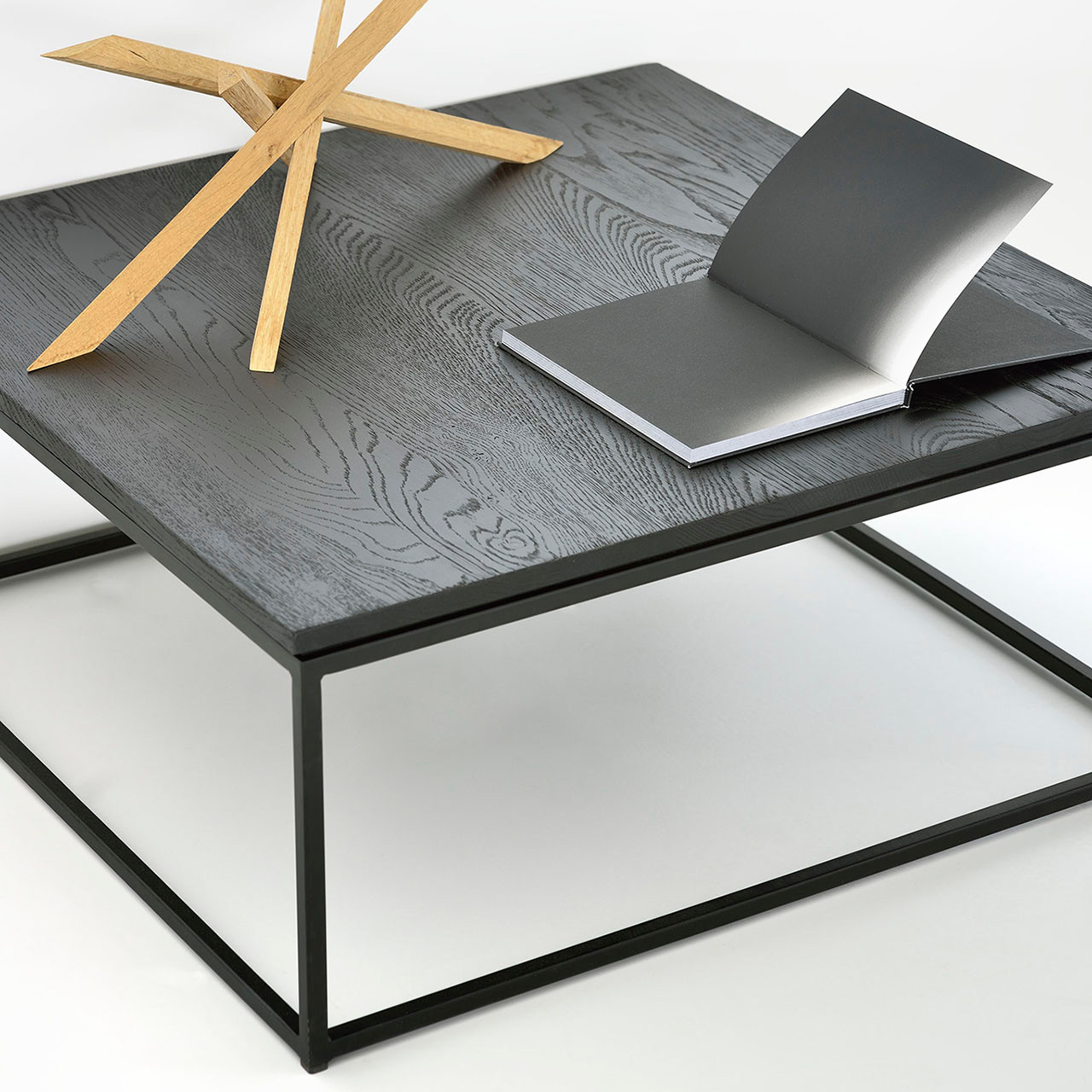 Rhett Oak Thin Coffee Table - Black or Natural