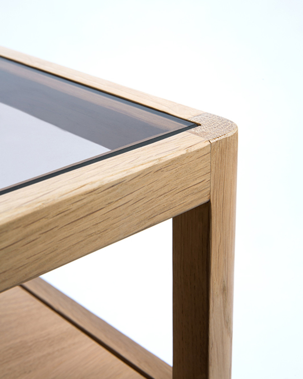 Oak Spindle Nightstand with Glass Top