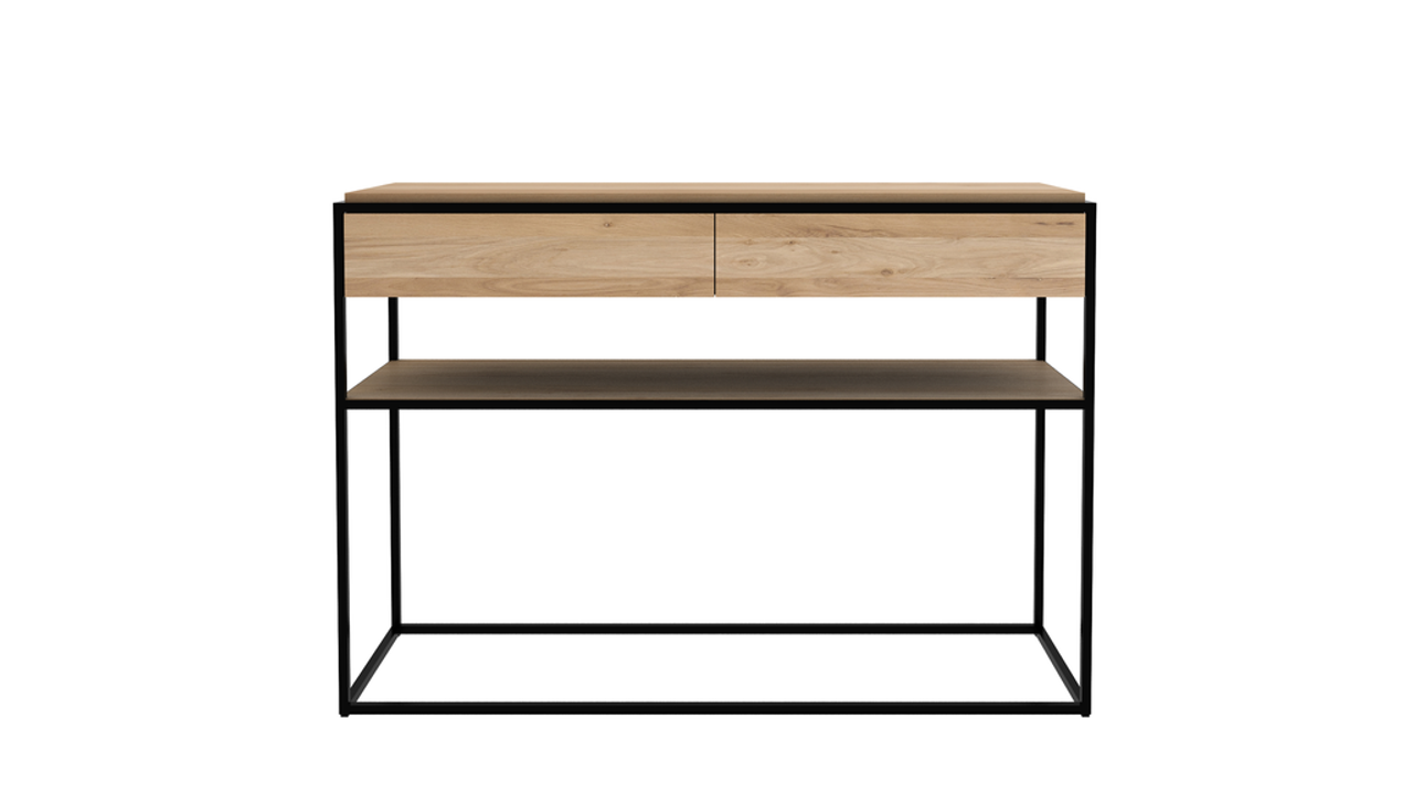 Falcon Light Oak Wood Console with Drawers